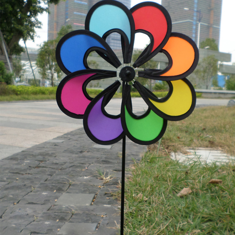 Pretty Flower Windmill Toys Outdoor Colorful Wind Spinner For Children Garden Camping Playing