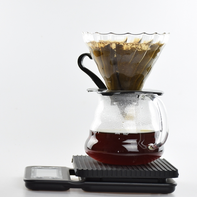 V60 Coffee Drip Pot Set 300Ml Heat Resist Glass Espresso Brewer With 40Pcs Filters  Electrical Coffee Scale with timer
