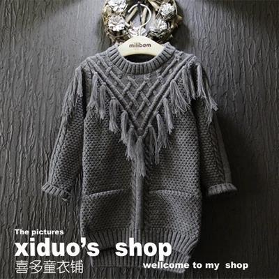 Bebê meninas outono inverno blusas de lã material de longa americano meninas roupas borla moda infantil roupas para meninas para 2-7A