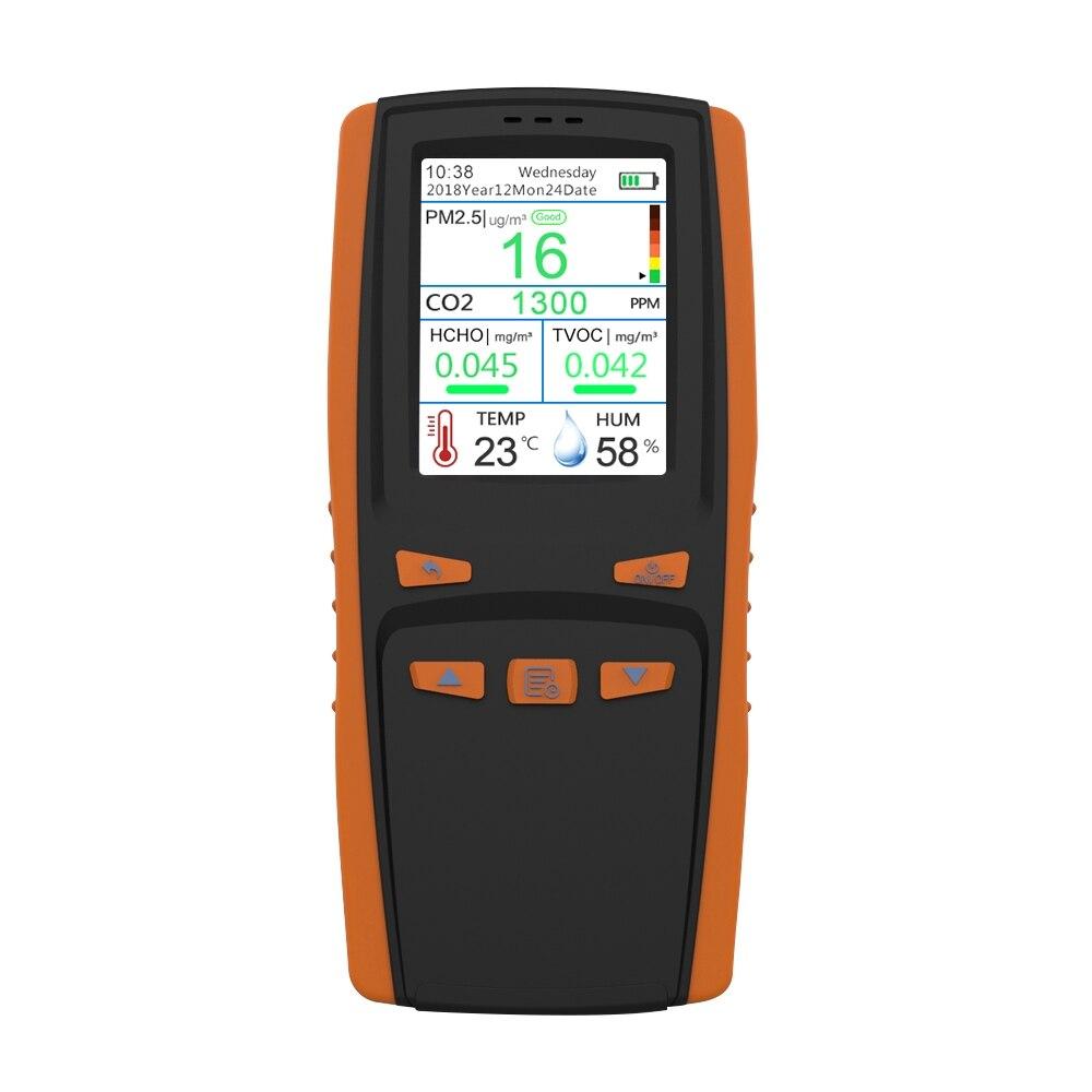 HCHO CO2 PM2.5 Detector de Gas de dióxido de carbono formaldehído PM 2,5 TVOC Home Pantalla LCD portátil AQI Detector de calidad del aire polvo