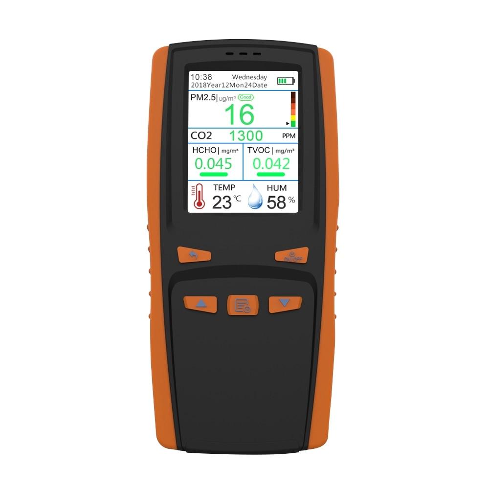Portable Digital Air Quality Monitor CO2 Meter Carbon Dioxide Formaldehyde Tester Gas Analyzers AQI HCHO TVOC PM2.5 Detector