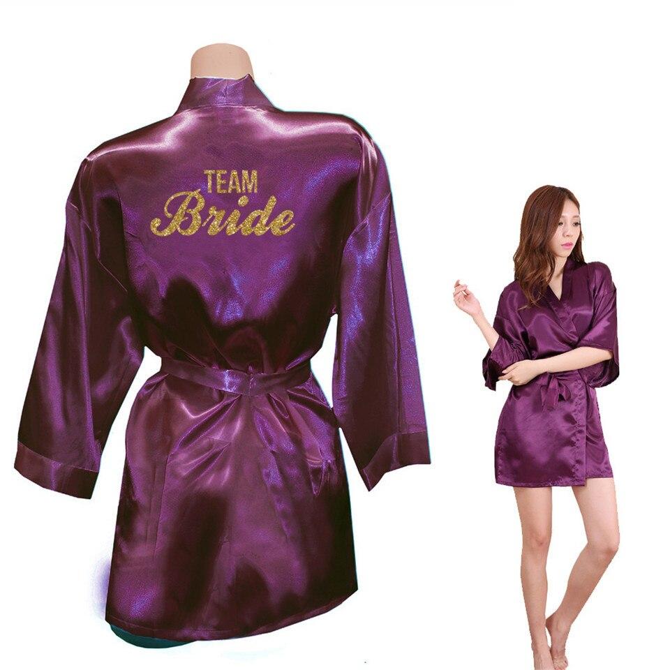 Image 5 - Bride Crown Team Bride Golden Glitter Print Kimono Robes Faux Silk Women Bachelorette Wedding Preparewear Free Shipping-in Robes from Underwear & Sleepwears on AliExpress