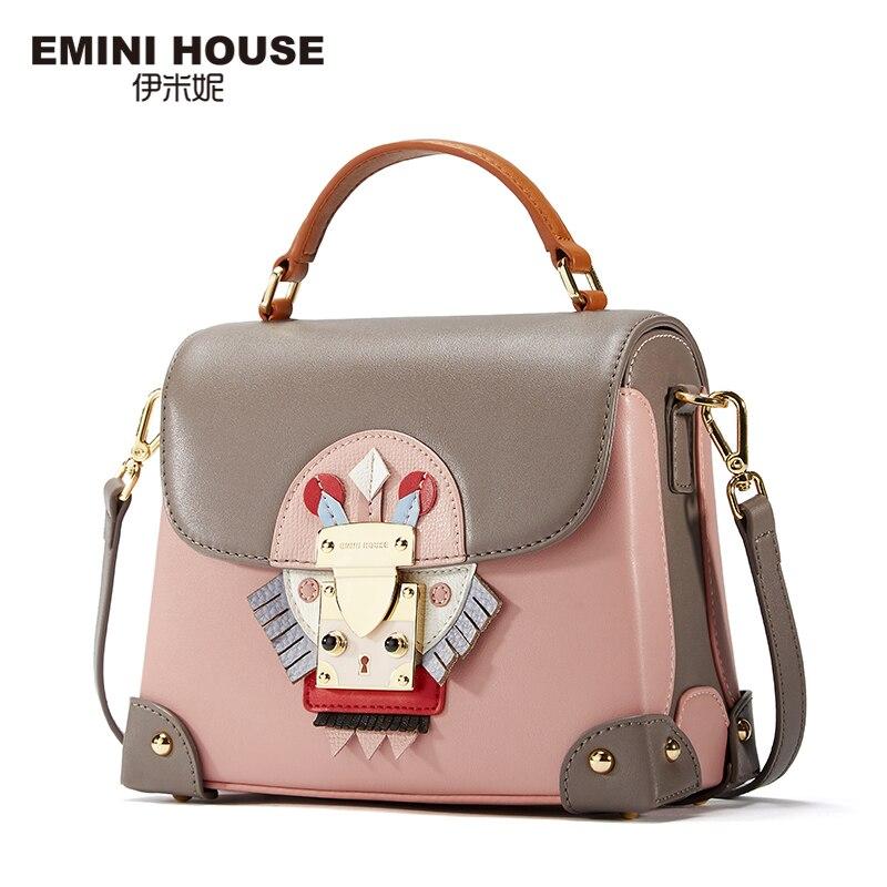 EMINI HOUSE Indian Style Luxury Handbags Women Bags Designer Split Leather Crossbody Bags For Women Shoulder Messenger Bag