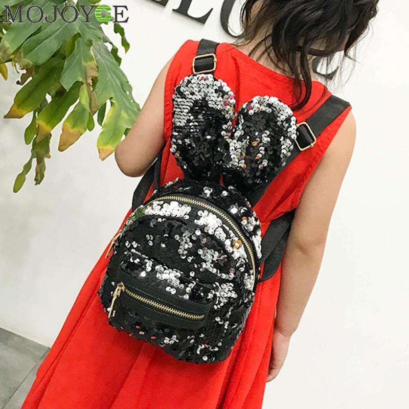 1/3pcs/set Mini Shining Sequins School Backpack Women Rabbit Ears Rucksack Cartoon Label Purse Zipper Shoulder With Small Bag #2