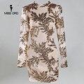 Missord 2017 Сексуальная О-Образным Вырезом с длинными рукавами tight sequin Dress FT4993