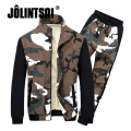 Jolintsai Camouflage Sportwear Men 2017 Long Sleeve Fleece Tracksuit Men Sportswear Hoodies&Sweatshirt+Pants 2pcs Sets