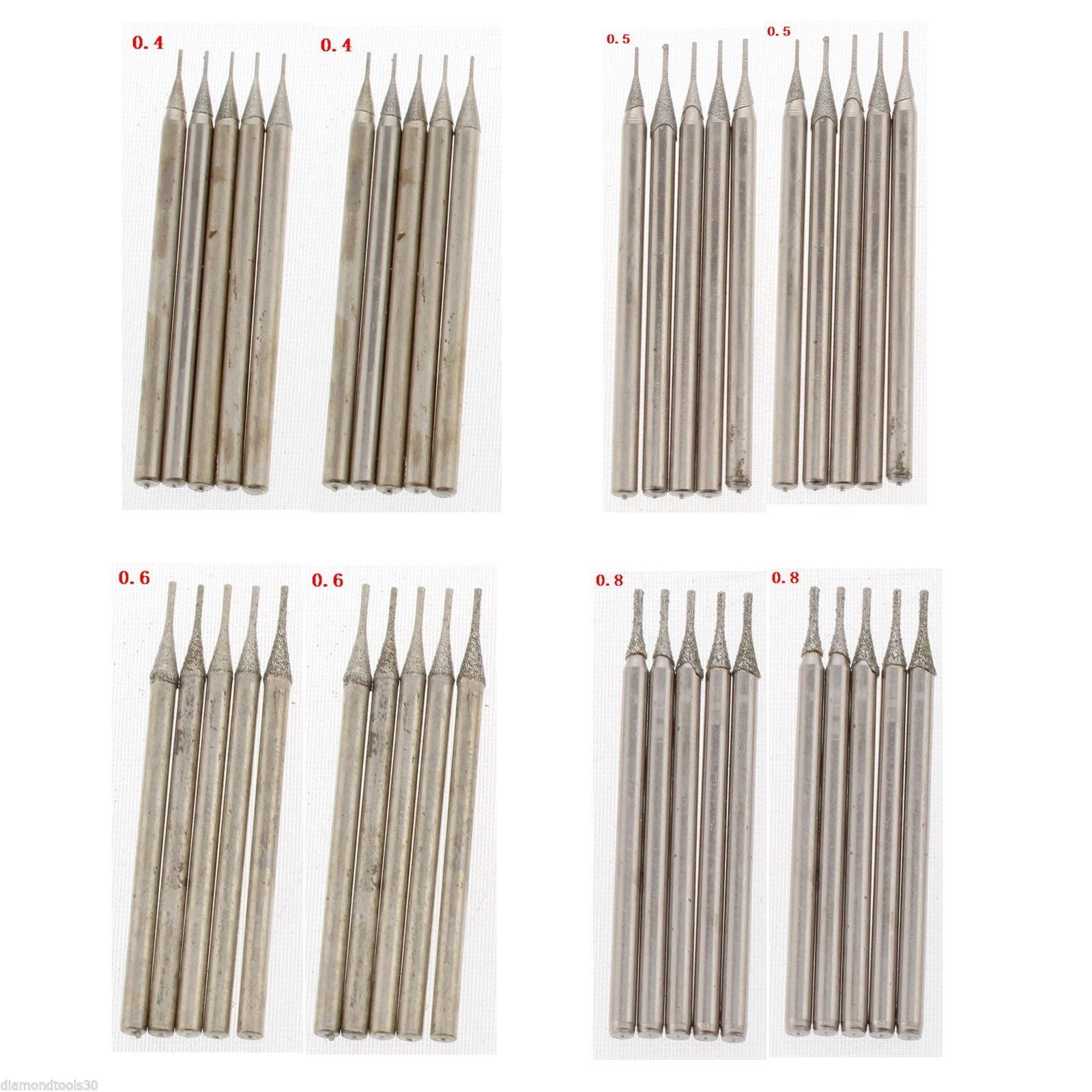 40Pcs 0.4 0.5 0.6 0.8mm Diamond Hole Saw Drill Bit Set Coated Solid Bits Masonry Drilling Jewelry Tools For Stone Gemstone silver jewelry gems drill bits diamond coated hole saw tools 0 7mm set of 100