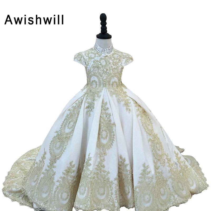 Hot Selling Cap Sleeve Beaded Appliques Satin Ball Gown Flower Girl Dresses Communion Dress Robe Fille Enfant Mariage De Soiree