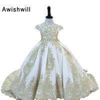 Hot Selling Cap Sleeve Beaded Appliques Satin Ball Gown Flower Girl Dresses Communion Dress robe fille enfant mariage de soiree