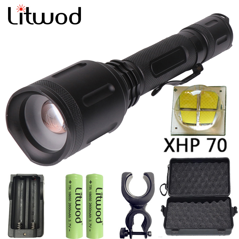 Litwod Z301262 XHP70 powerful LED flashlight torch 20000LM Zoom Tactical defense daylight flashlight Lantern for hunting lightLitwod Z301262 XHP70 powerful LED flashlight torch 20000LM Zoom Tactical defense daylight flashlight Lantern for hunting light