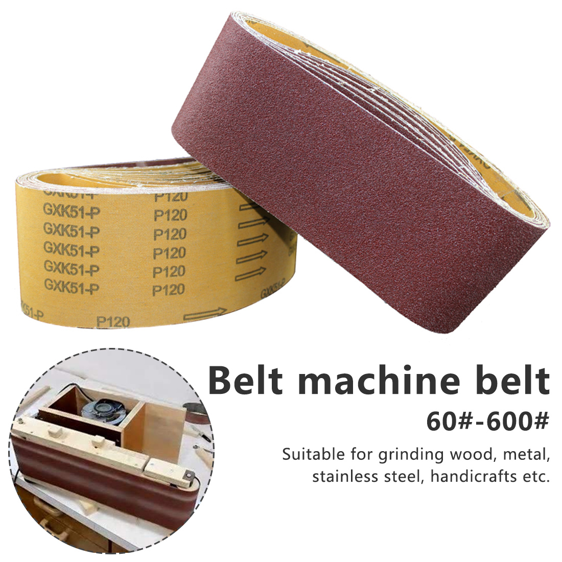 Abrasive Sanding Screen Band For Wood Soft Metal Grinding Polishing P60 - P600 Grinding Polish Machine Belt Wheel Lights
