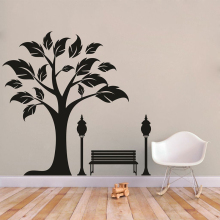 YOYOYU 40 colors Vinyl wall stickers muraux Tree Bench Pattern Removeable Wall Decal Livingroom Diningroom Wall Decor ZX184 quality floating dandelion pattern removeable wall stickers
