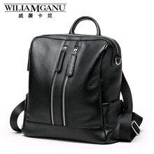 Williamganu натуральная кожа рюкзак женщин двойная молния плечевой ремень рюкзак дамы рюкзак черный бизнес дорожная сумка