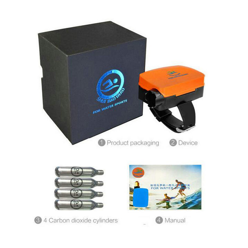 Portable Inflatable Wrist Strip Air Bag with 4pcs of Carbon Dioxide Steel Cylinder for Outdoor Water Sports Life-Safe Device environmentally friendly pvc inflatable shell water floating row of a variety of swimming pearl shell swimming ring