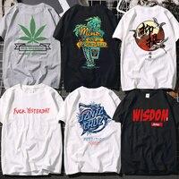 Европейская и американская уличная мода бренд Корея свободный bf ветер любителей с коротким рукавом футболка прилив с длинным рукавом мужчи