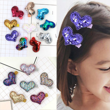 LNRRABC  2018 New Hair Clip Kartoon KidsGirls Gifts Allergy Free Fish Scale Heart Shaped Graceful Korean 1Pair Double Color