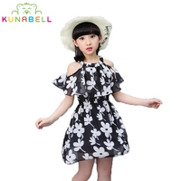 2017 Summer Harness Flower Girls Korean Dresses Children Sling Chiffon Print Casual Princess Party Dress Kids Clothes 3-15Y D46