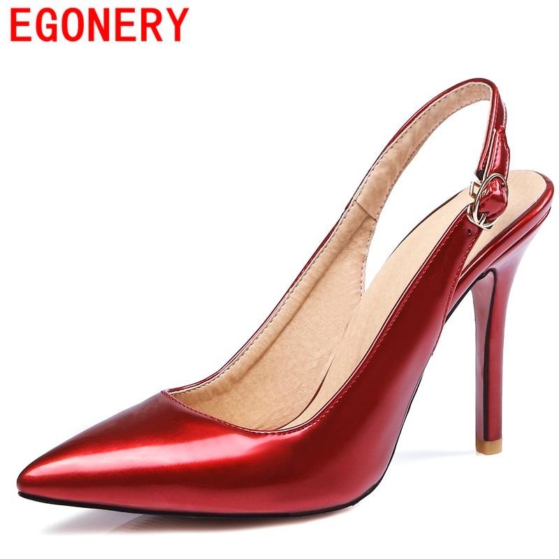 Egonery 2017 mode chaussures femme sandales femmes bout pointu parti chaussures dames 10 mince talons boucle sangle de bonne qualité sandales