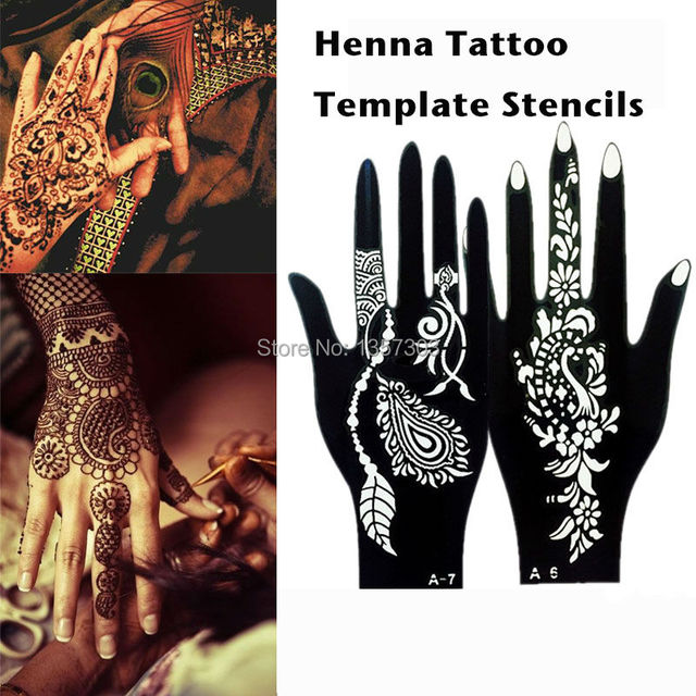 10 Pcs (5Pair )Indian Glitter Airbrush Large Henna Tattoo Template Stencils For Body Paint Henna Left Right Hand Tattoo Stencil