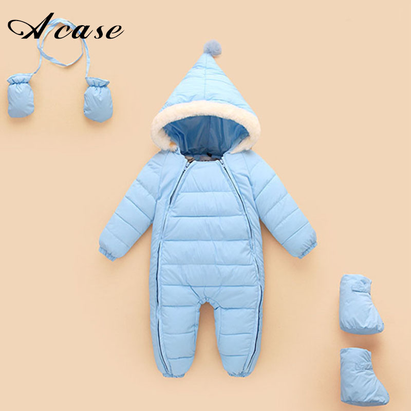 2018 Winter Newborn Baby Cotton Padded Warm Jacket Coat Children Siamese Clothes Infant Girls Boys Bodysuits Gift Gloves Socks children winter coats jacket baby boys warm outerwear thickening outdoors kids snow proof coat parkas cotton padded clothes