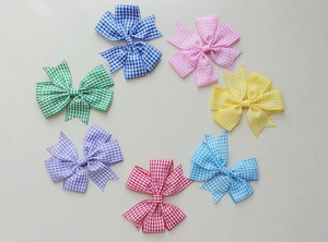 Image 5 - headwear Cartoon stripe V Pinwheel Princess character Hairbows gingham plaid Hair bows clips hair ties Accessories 50pcs HD3355