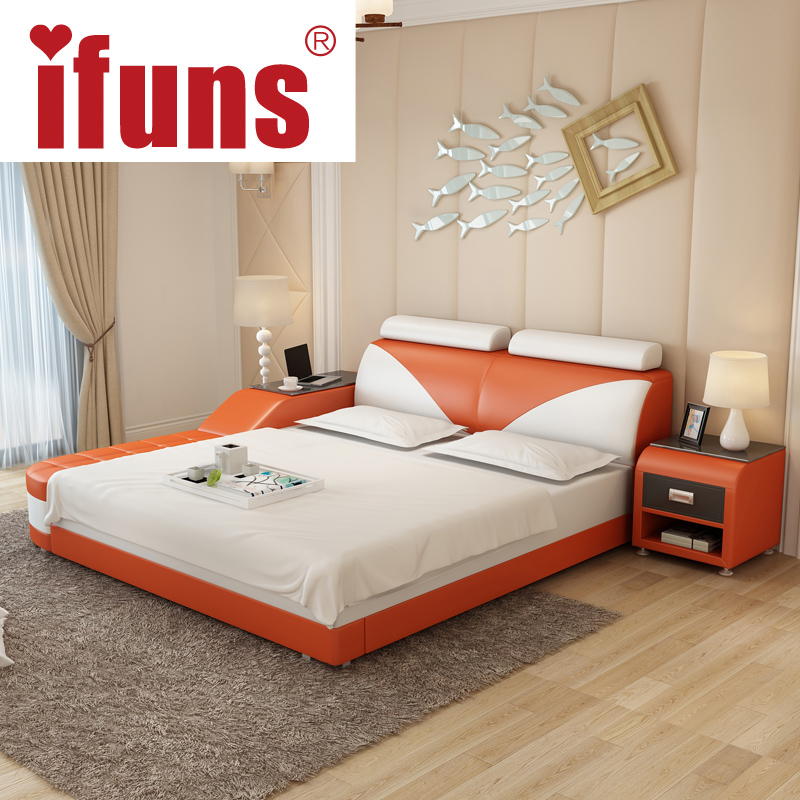 nameifuns luxury bedroom furniture modern design kingqueen size genuine leather bed with tatami storage and double bed frame in beds from furniture on - Luxury Bedroom Furniture