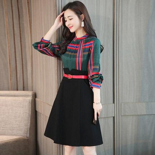 Printemps Coréenne À Manches Longues Faux Deux Pièces Femmes Robe Vert Plaid Patchwork Taille Haute Robes Femme Mode Office Lady Vêtements