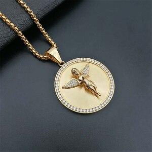 Image 3 - Ожерелье с подвеской в стиле хип хоп с изображением крыльев Ангела для женщин и мужчин, Золотое круглое ожерелье из нержавеющей стали, украшения