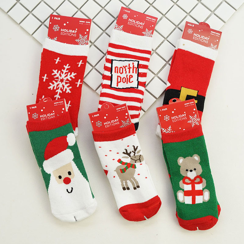 1 pairsset christmas design baby socks cartoon new born childrens christmas socks for kids boys baby winter cotton girls socks