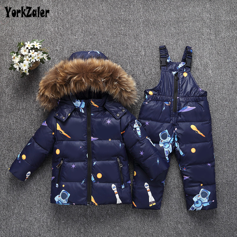 Yorkzaler -30 Degree Russia Winter Kids Clothing Set For Girls Boys Long Sleeve Jacket Overall Pants Child Clothes Baby Outfits