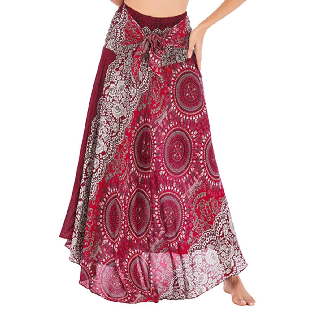 summer sexy ladies beach national wind skirt two wear big swing skirt long skirt knit high waist