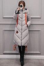 2016 Мода Женщины Куртка Зимняя Куртка Женщина Долго Хлопка Сплошной Цвет Зимняя Куртка Женщины Толстый Капюшоном Зима Вниз Парки Пальто