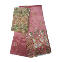 Latest Silk George Fabric Raw Silk George Fabric Indian George Lace Fabric With Sequins For Garment