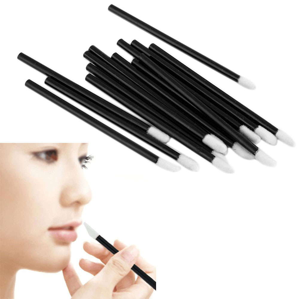 100pcs Disposable Flocked Head Makeup Lip Brush Lipstick Lipgloss Wands Applicator Makeup Brushes Tool High Quality Preventing Hairs From Graying And Helpful To Retain Complexion