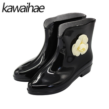 Pointed Toe Women Boots Casual Rain Shoes Female Waterproof Rainboots Rubber Shoes Kawaihae 268