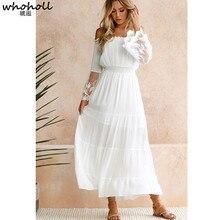 цены на WHOHOLL Summer Sundress Women White Beach Dress Strapless Long Sleeve Loose Sexy Off Shoulder Lace Boho Chiffon Maxi Dress в интернет-магазинах