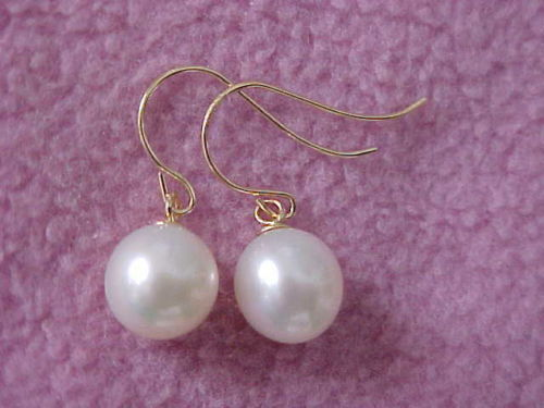 PERFECT ROUND WHITE 9-10MM AAA SOUTH SEA PEARL DANGLE EARRING 14k/20 YELLOW GOLDPERFECT ROUND WHITE 9-10MM AAA SOUTH SEA PEARL DANGLE EARRING 14k/20 YELLOW GOLD