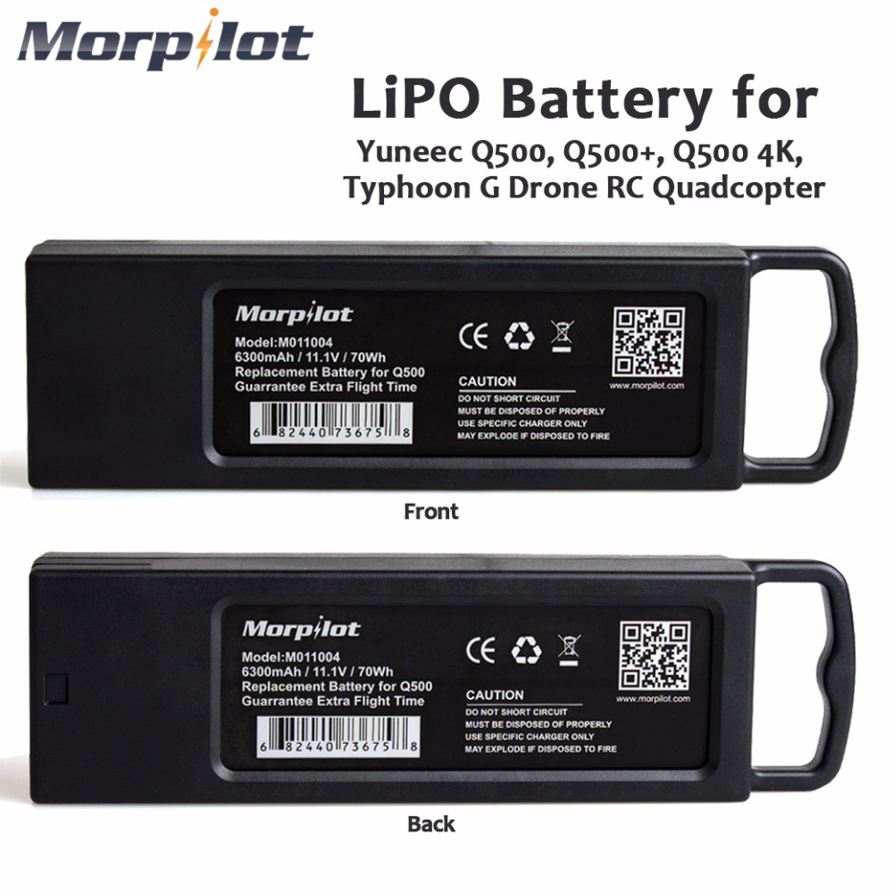 Morpilot 2pcs 11.1V 3S 6300mAh 4K 10C LiPO Battery for Yuneec Typhoon Q500 Q500 4K High Performance with Charging Protection yuneec typhoon h rtf black grey гексакоптер