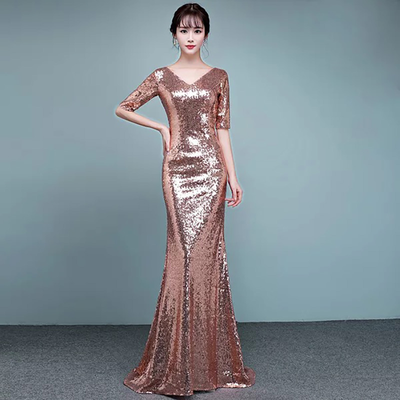 D028 rose gold sequined half sleeves v neck floor length runway dress-in  Dresses from Women s Clothing on Aliexpress.com  d8f33ee93e4f
