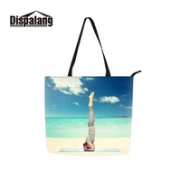 Dispalang Fashion Print Sportl Yoga Logo Cotton Heavy Canvas Tote Bag Long Handle Shoulder Bags Cheap Promotional Cloth Shopper