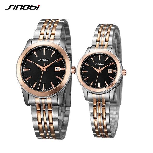 SINOBI Luxury Brand Lover's Watch Clock Fashion Women's Men's Quartz Wristwatch