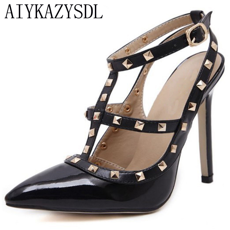 AIYKAZYSDL Plus Size41 Women High Heel Pumps Strappy Slingback Ankle Strap Studded Stiletto Wedding Party Shoes Woman Sandals onlymaker ladies women s high heel closed toe pumps rivet studded sandals handmade for wedding party dress stiletto shoes