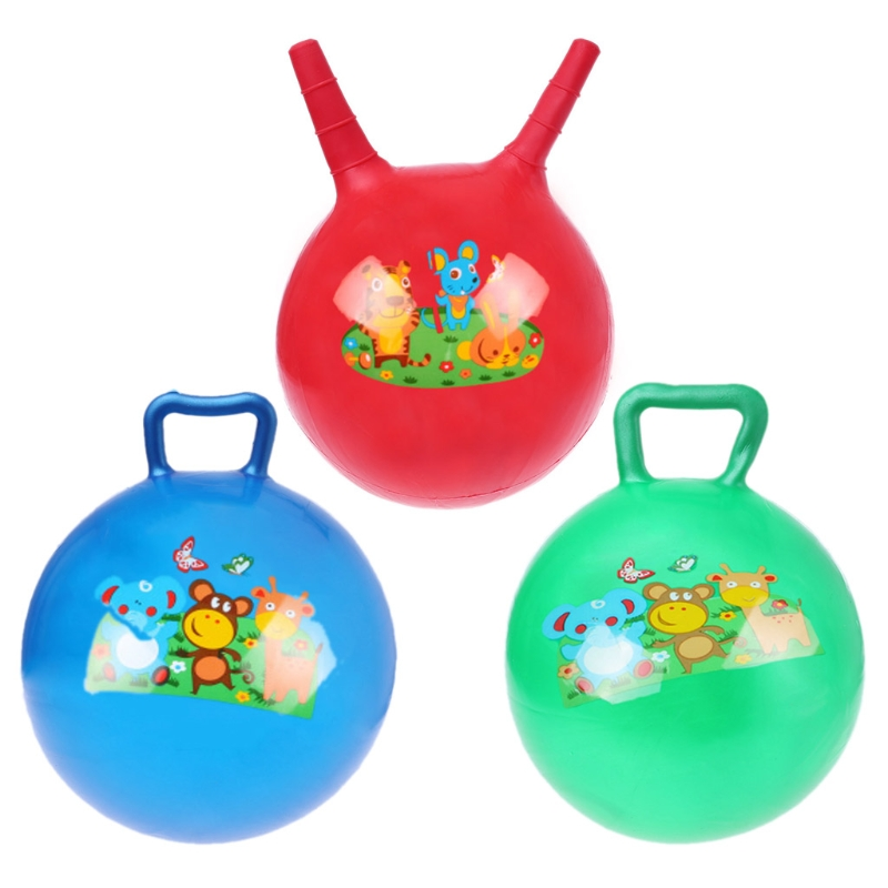 20/25/28cm Inflatable Jump Ball Hopper Bounce Retro Ball Kids Baby Toy Balls Outdoor Sports Toy Balls With Handle For Boy Girl