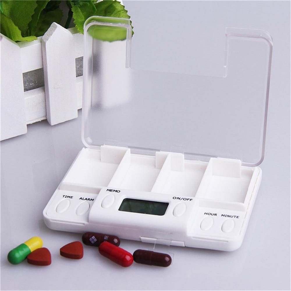Square Intelligent Timing Daily Reminder Alarm 4 Days Medicine Pill Box Container Tablet Storage Splitters pastilleros pildoras