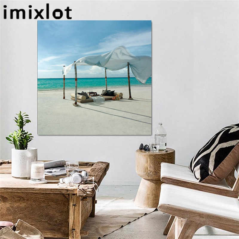 Imixlot Wall Art Modern Painting Sea Beach Canvas Painting Wall Pictures Artwork Print by Numbers Unframed