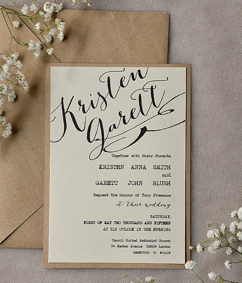 Us 75 0 Printable Wedding Invitation Rustic Vintage Wedding Invitation Cards With Envelope Set Of 50 Pcs In Cards Invitations From Home Garden
