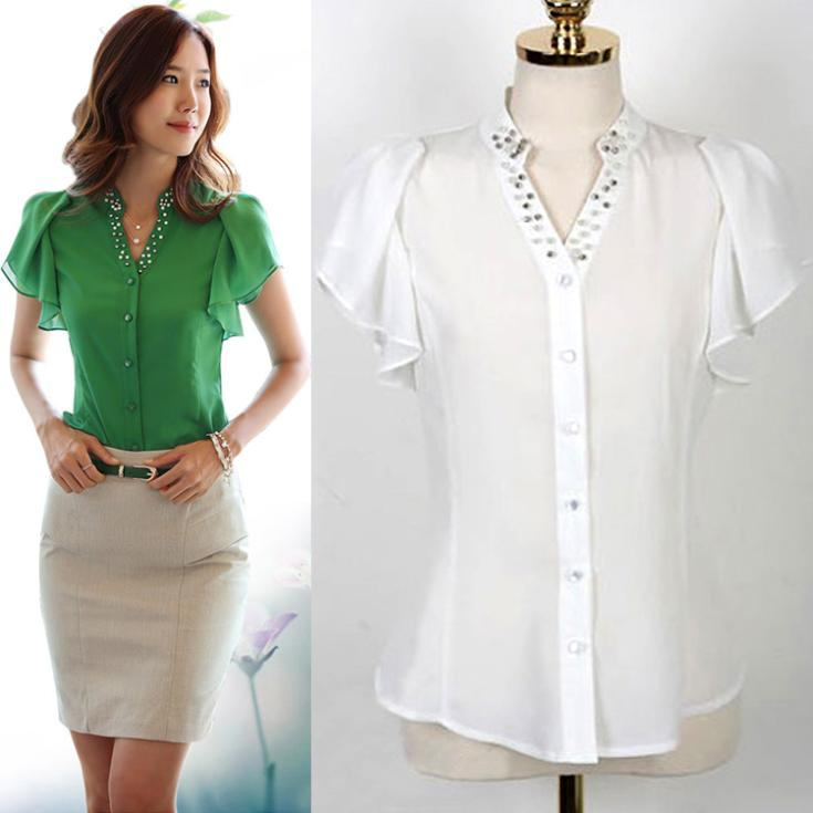fashion ladies white green blouses stylish casual women