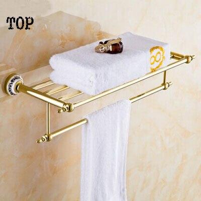 ФОТО Golden bath towel rack European towel rack Antique bathroom hardware pendant suits  porcelain gold-plated bathroom pendant