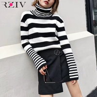 RZIV winter women knit sweater casual striped turtleneck women sweaters and pullovers woolen female