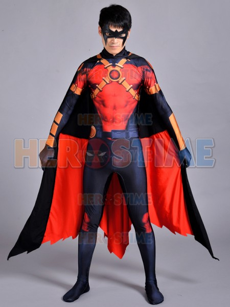 New 52 Red Robin Costume Anime Robin Cosplay Suit Superhero Party Jumpsuit Halloween Party Zentai Suit Can Custom Free Shipping free shipping dhl custom made new arrival sexy red pvc zentai catsuit zentai suit for halloween party front zipper zp1508